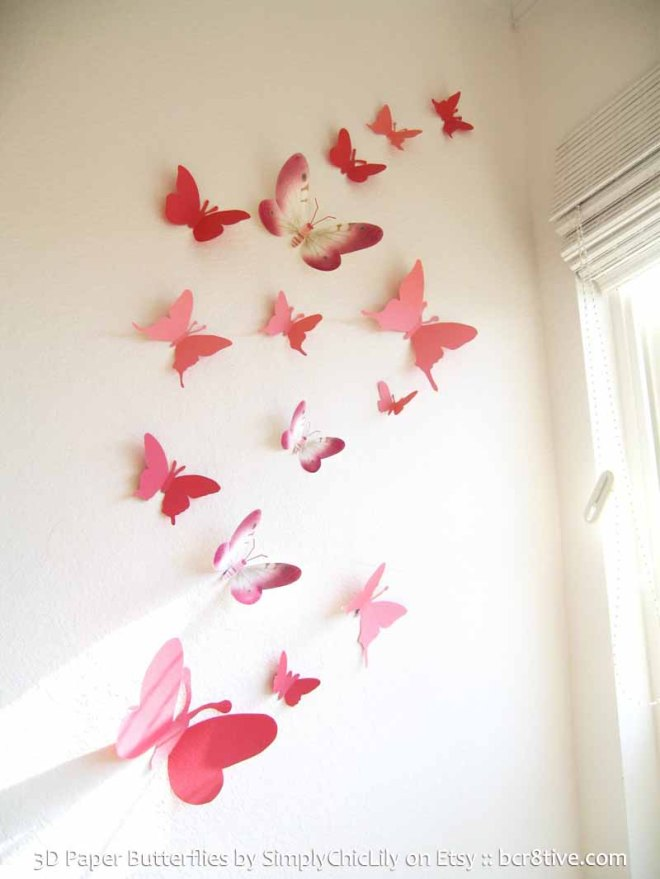 3D Paper Butterflies by SimplyChicLily on Etsy