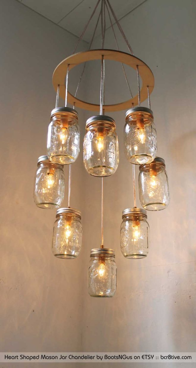 Heart Shaped Mason Jar Chandelier by BootsNGus