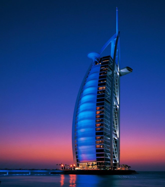 Burj Al Arab, Dubai in the evening