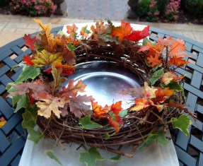 Wreath - Fall Leaves on Stainless Steel Plates