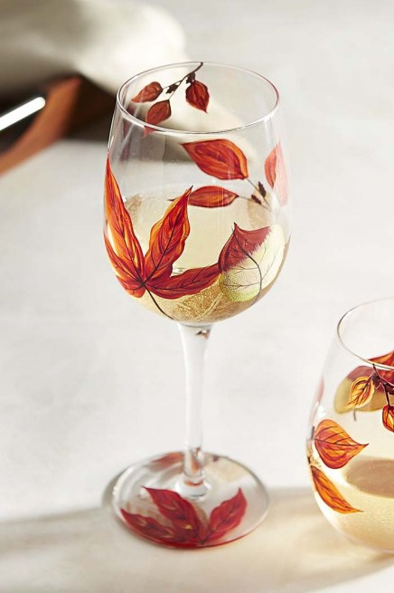 Asheville Leaves Painted Stemware