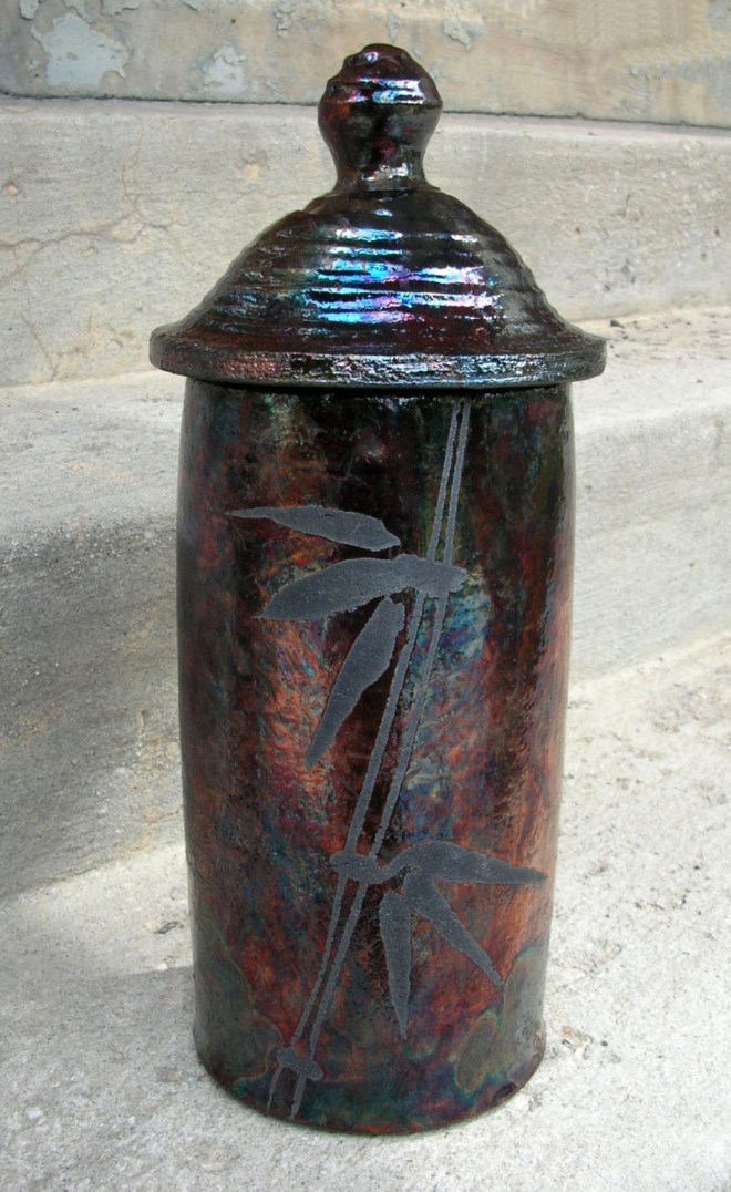 Raku Jar with Lid by Dennis Bean-Larson