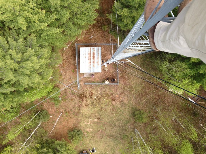 Long ways down, new antenna coming up for installation.