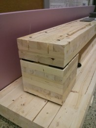 """The prepped CLT base with 1/8"""" saw kerfs for the shear fasteners"""