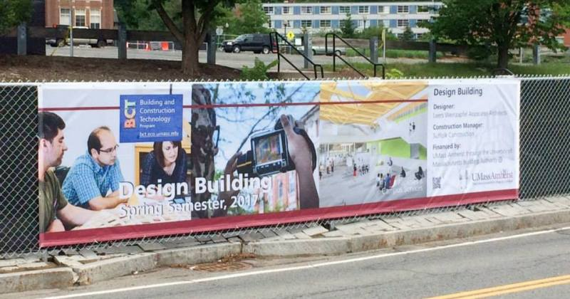 BCT banner on Design Building features our graduate students