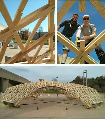 UMass Amherst Students Build Timber Grid Shell as Pop-up Exhibition on Fine Arts Center Plaza