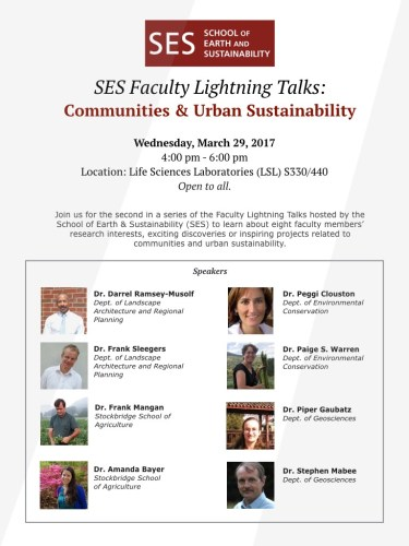 SES Faculty Lightning Talks: Communities & Urban Sustainability @ UMass Life Sciences Lab (LSL), S330/440