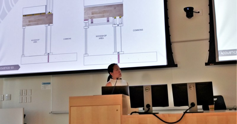 Rose Mary Su from Acentech speaks about building acoustics in the Design Building