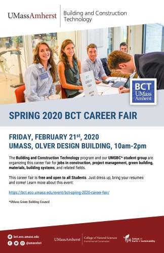 BCT Spring 2020 Career Fair @ Design Building Atrium & Room 170 | Amherst | Massachusetts | United States