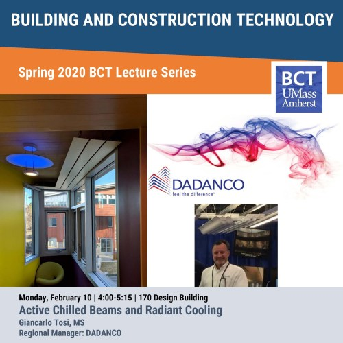 BCT Lecture: Active Chilled Beams and Radiant Cooling @ UMass Olver Design Building, Room 170
