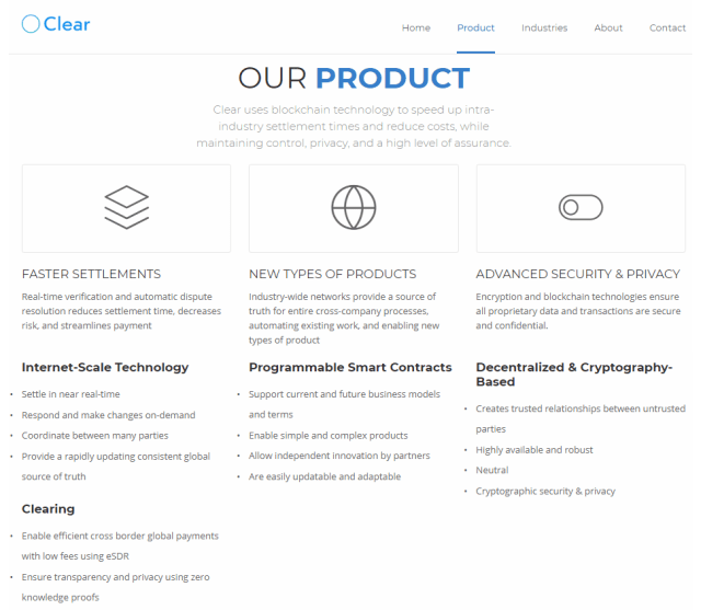 Clear blockchain company information product