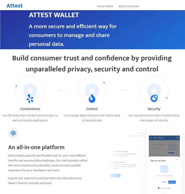 Attest blockchain ID wallet