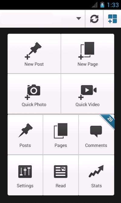 wordpress android dashboard