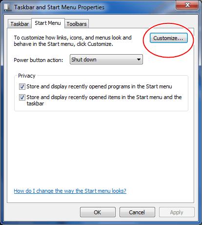 Taskbar-Start Menu-Customize