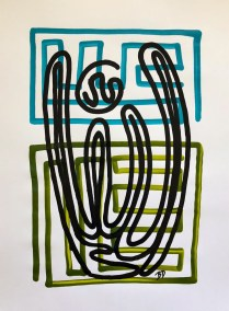 BLACK ORGAN PIPE ON BLUE AND GREEN_18X24_ACRYLIC ONE-LINE DRAWING_CROP_750X1000