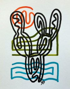 BLACK PRICKLY PEAR ON BLUE GREEN AND ORANGE_18X24_ACRYLIC ONE-LINE DRAWING_CROP_750X1000