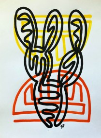 BLACK-PRICKLY-PEAR-RED-ORANGE_18X24_ACRYLIC ONE-LINE DRAWING_CROP_750X1000