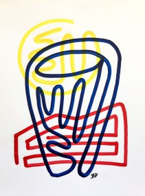 BLUE BARREL RED AND YELLOW_18X24_ACRYLIC ONE-LINE DRAWING_CROP_750X1000