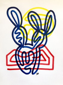 BLUE PRICKLY PEAR ON RED AND YELLOW_18X24_ACRYLIC ONE-LINE DRAWING_CROP_750X1000