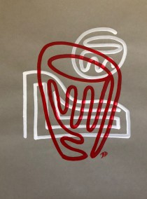 RED BARREL ON WHITE AND GRAY_18X24_ACRYLIC ONE-LINE DRAWING_CROP_750X1000
