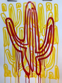 RED DRIP SAGUARO ON YELLOW_18x24_ACRYLIC DRIP DRAWING_CROP_750X1000