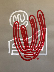 RED ORGAN PIPE ON WHITE AND GRAY_18X24_ACRYLIC ONE-LINE DRAWING_CROP_750X1000