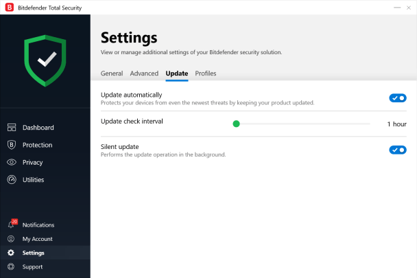 Bitdefender Setting's Update Screen