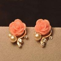 Sweet Nice Rhinestone Rose Earrings on Luulla