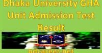 Dhaka University GHA Unit Admission