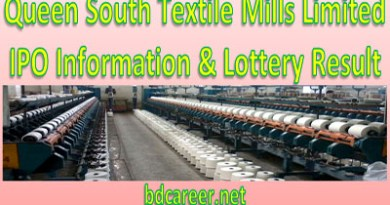 Queen South Textile Mills Limited IPO Lottery Result