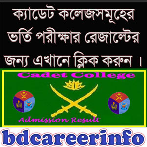 Cadet College Written Admission Result 2018