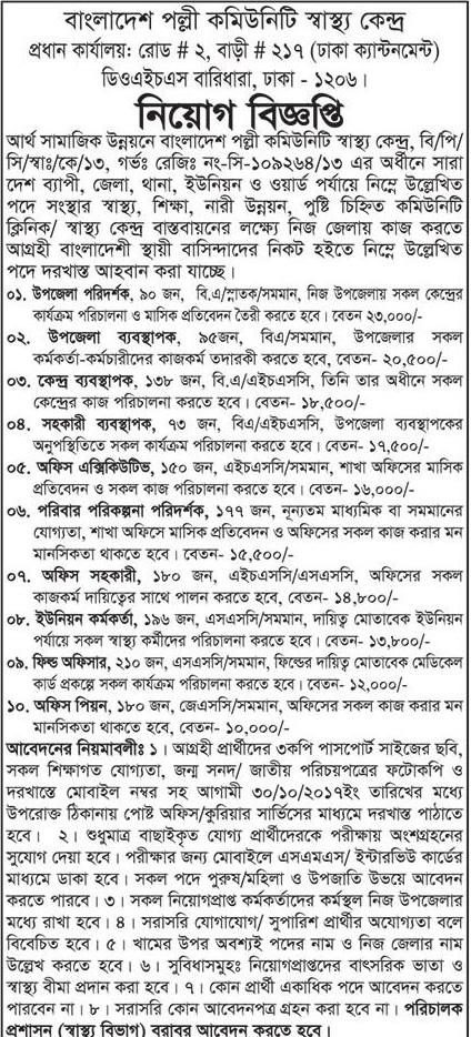 Bangladesh Palli Community Shastho Kendro jobs circular