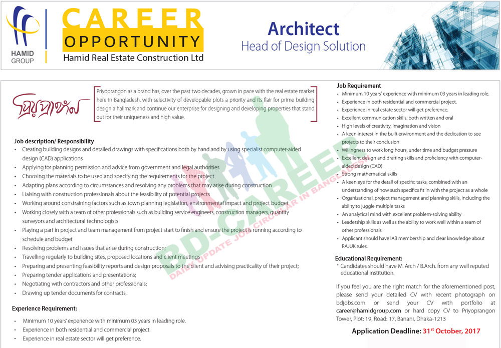 Hamid Real Estate Construction job circular