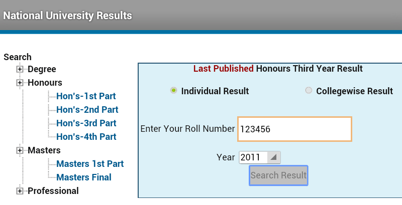 Honors 3rd year Result