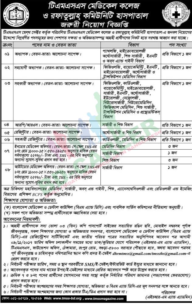 TMSS Medical College job circular