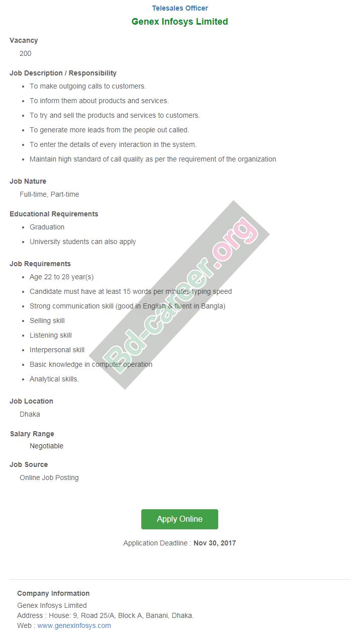 Genex Infosys Limited Job Circular in November 2017