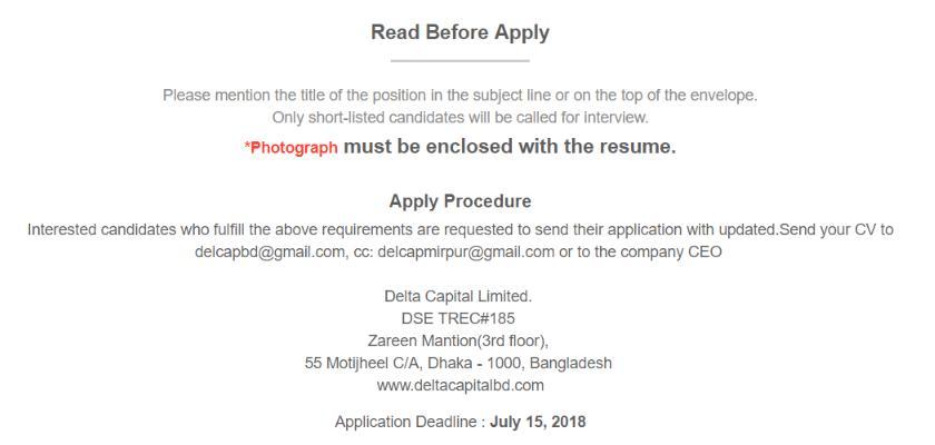 Delta Capital Limited Job circular