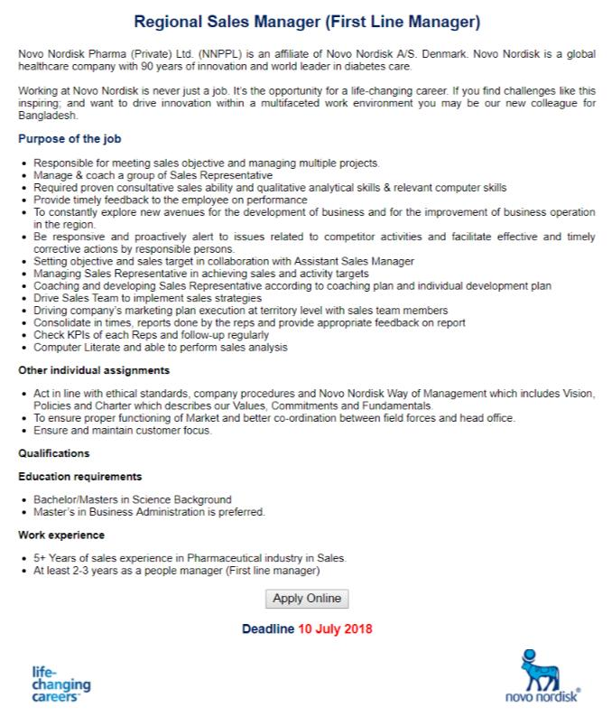 Novo Nordisk Pharma Job Circular 2018