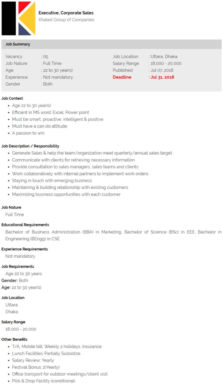 Khaled Group Job Circular 2018