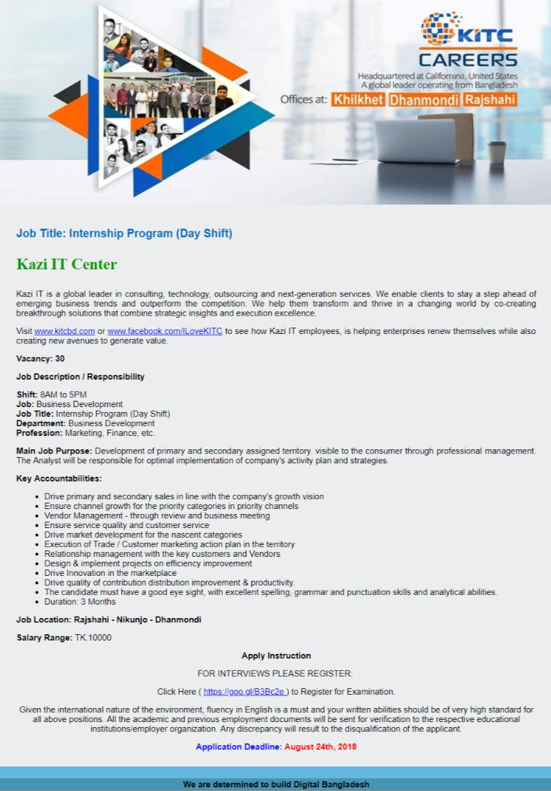 Kazi IT Center Limited Job Circular 2018.