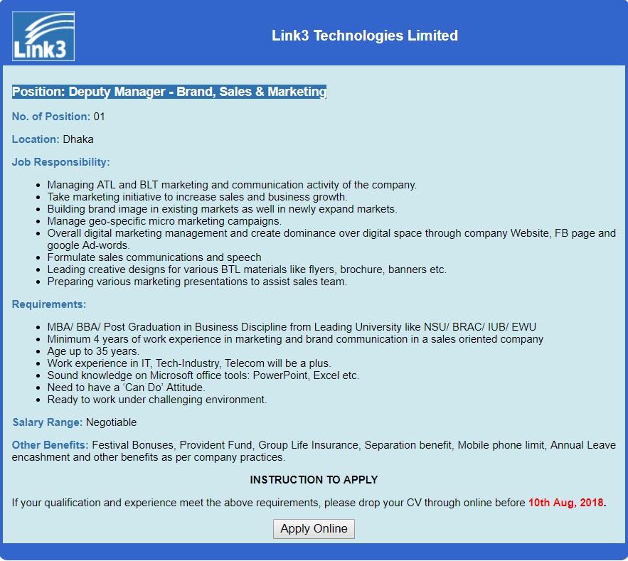 Link3 Technologies Job Circular