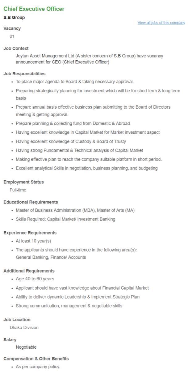 SB Group Job Circular 2018