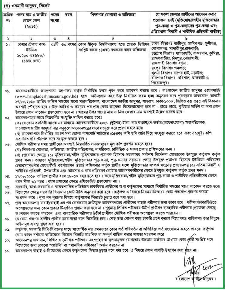 Bangladesh National Museum Job Circular 2018