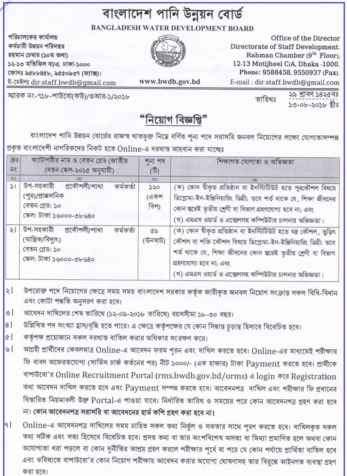 BWDB Job Circular Apply Process