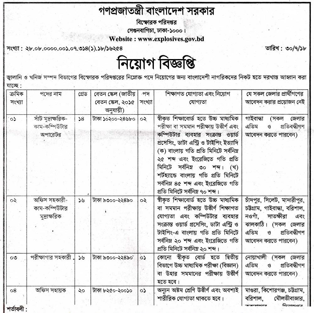 Department Of Explosives job circular