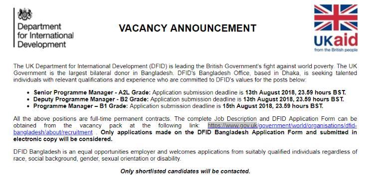 DFID Bangladesh Job Circular