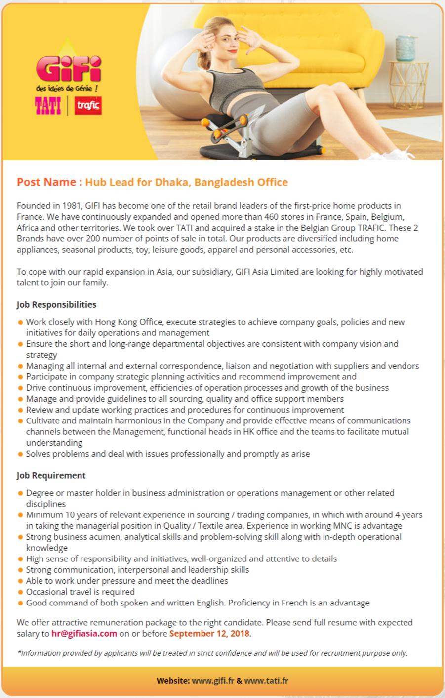 Gifi Asia Ltd Job Circular Apply Process 2018
