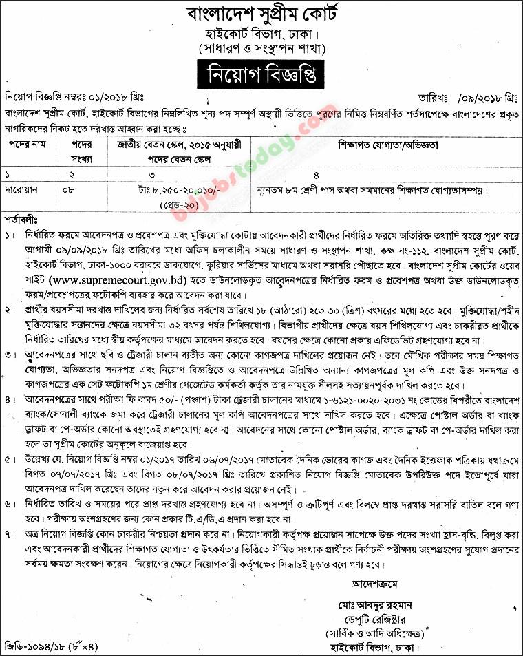 Bangladesh Supreme Court Job Circular