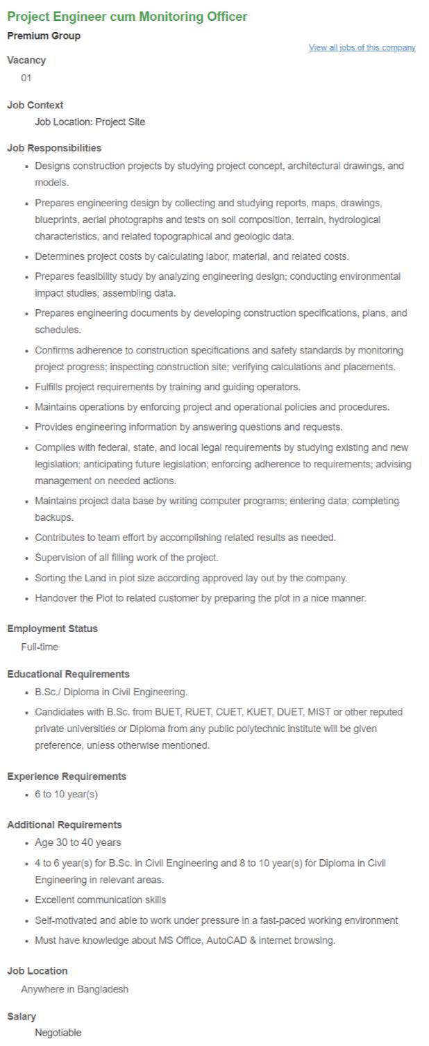 Premium Group Job Circular