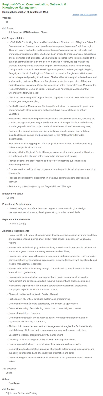 Regional Officer, Communication, Outreach, & Knowledge Management _ Municipal Association of Bangladesh-MAB __ Bdjobs com